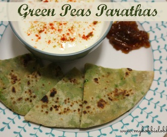 Green Peas Parathas - Whole Wheat Flatbread with a savoury green pea stuffing
