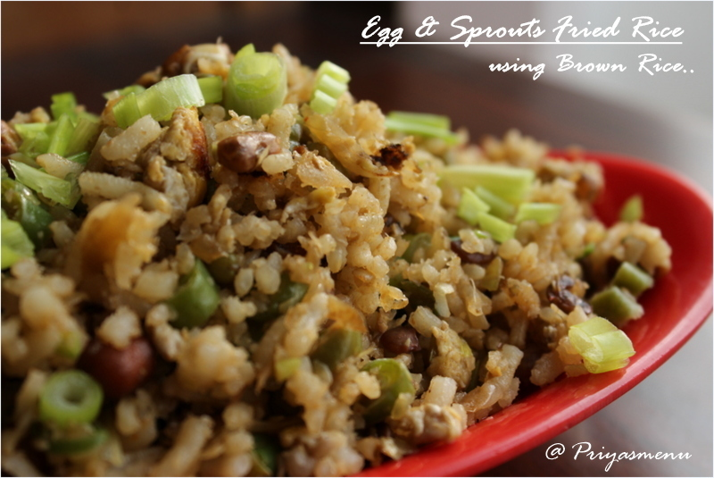 Egg & Sprouts Fried Rice Using Brown Rice / Diet Friendly Recipe - 51 / #100dietrecipes