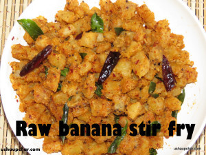 Raw banana stir fry curry recipe