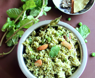 Peas Mint Pulao - Peas Mint Rice - Lunch box recipe - Rice recipe
