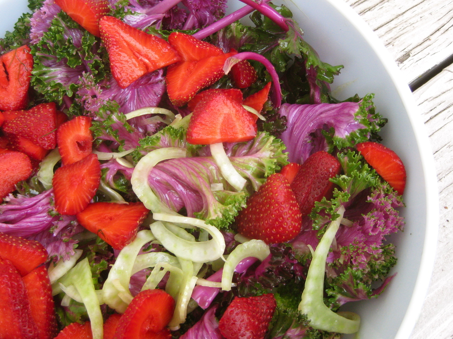 Shaved Fennel Salad with Strawberries & Purple Kale