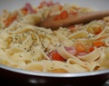 Tagliatelle with bacon and tomato // Tagliatelle com bacon e tomate