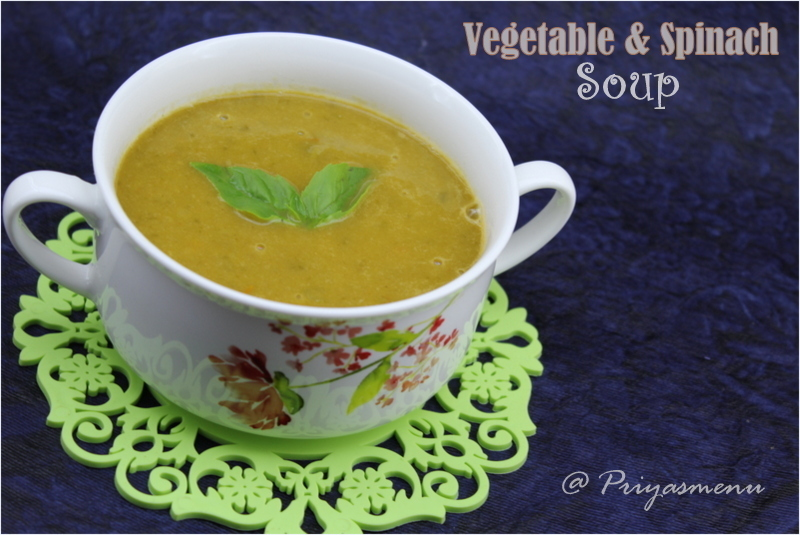 Vegetable and Spinach Soup / Diet Friendly Recipe - 64 / #100dietrecipes