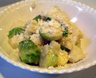 Cauliflower, Brussels Sprout and Cheese Gratin