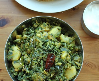 Radish leaves and potato sabzi/ Radish greens and potato stir fry/mooli patte aloo sabji