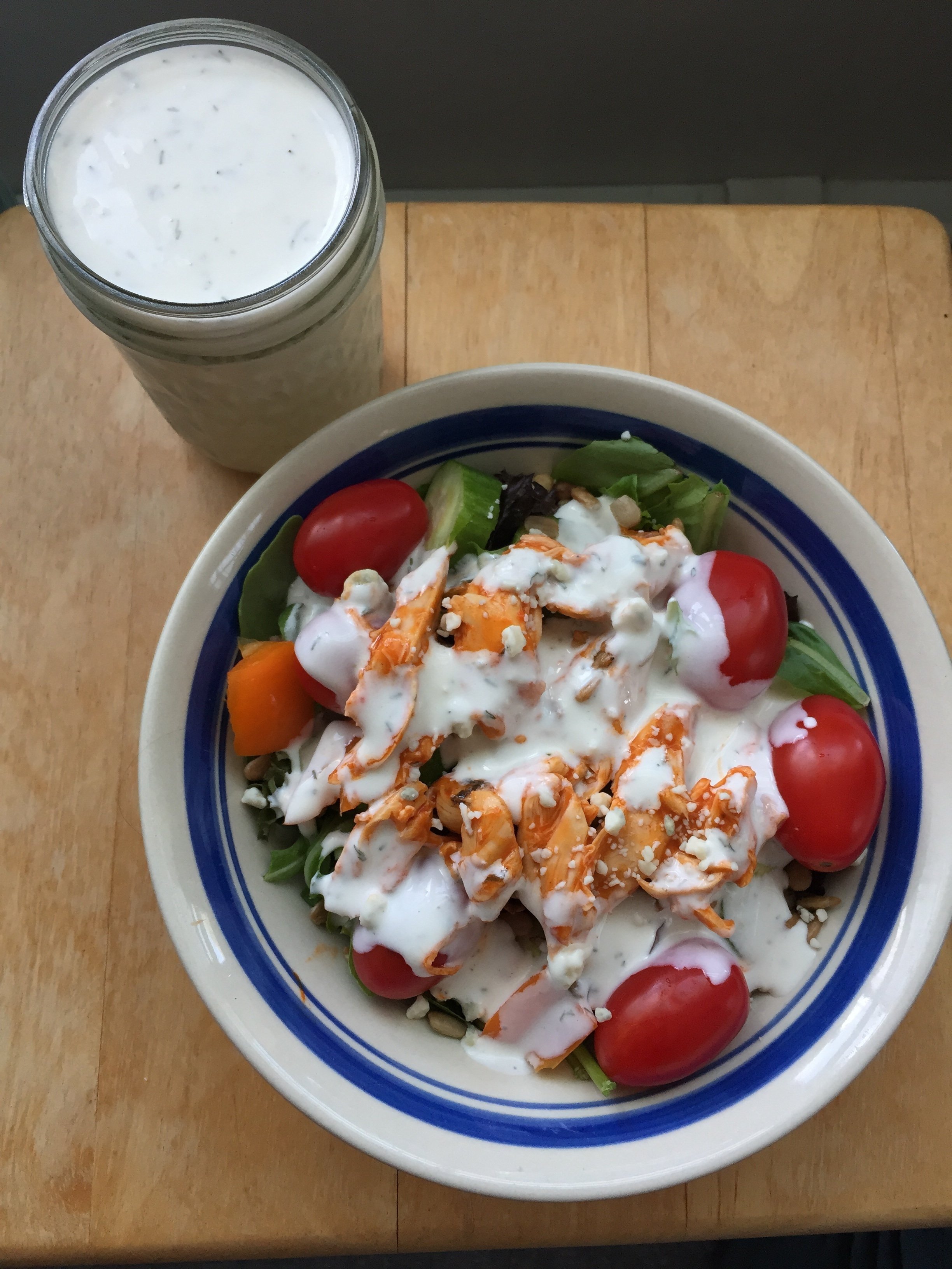 Buffalo Chicken Salad with Lightened-up Ranch Dressing