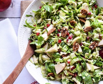 Brussel Sprout Salad with Pear and PomegranateJump to Recipe