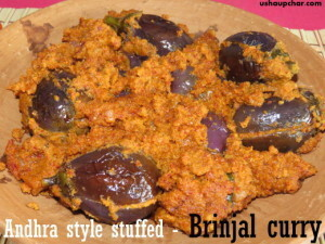 Andhra style stuffed brinjal curry recipe