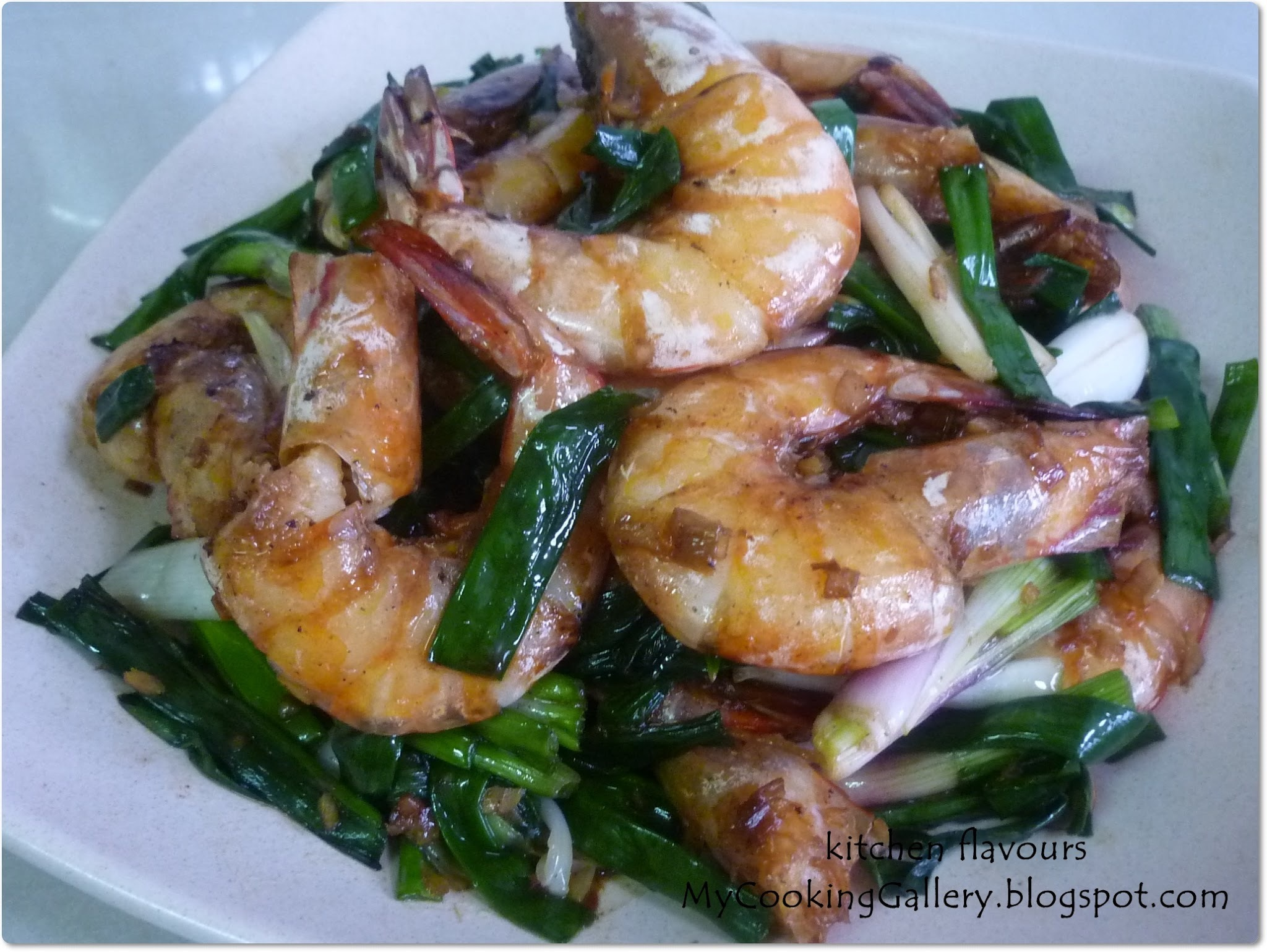 Oyster Sauce Prawns with Garden Fresh Spring Onions