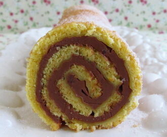 Orange roll cake filled with chocolate