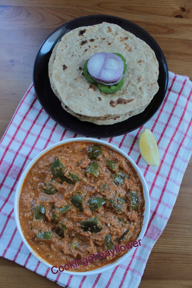 Punjabi style green capsicum masala/Capsicum in onion, tomato and nuts gravy