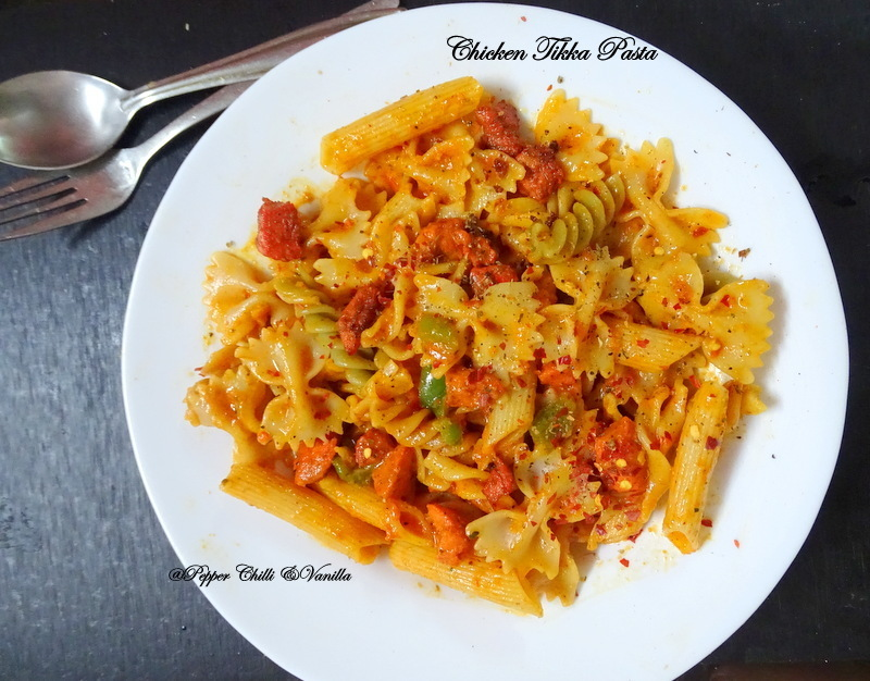 Cheesy Chicken Tikka Pasta /Chicken Tikka Masala Pasta