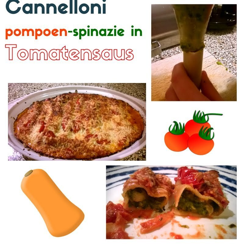Cannelloni gevuld met pompoen-spinazie in tomatensaus