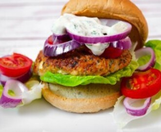 Chicken Burgers in the Oven Stuffed with Tomato and Feta