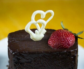 Wholewheat Banana Bread with Chocolate Ganache and  Hearts