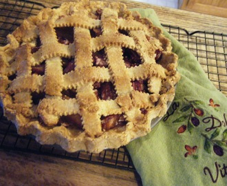 Plum Raspberry Pie With A Sweet Almond Lattice