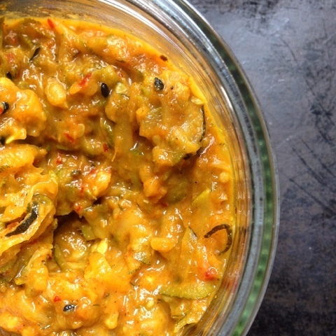 Indian style spiced courgette chutney