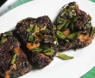 Black Pepper Fish Fry Recipe - Milagu Kariveppilai Meen Varuval Recipe