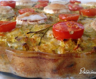 Quiche de legumes e queijo de cabra- Quiche of vegetables and goat cheese
