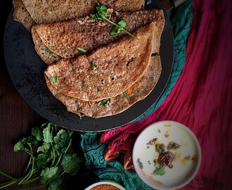 Oats Ragi Moong Cheela (Savory Crepes)