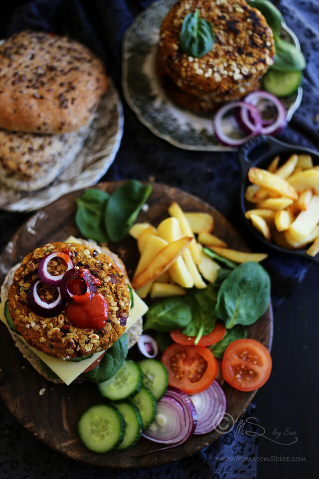 Indian Styled Spicy Vegan Sweet Potato, Oats and Chickpeas Burger Recipe | Simple Vegan Burger Recipe