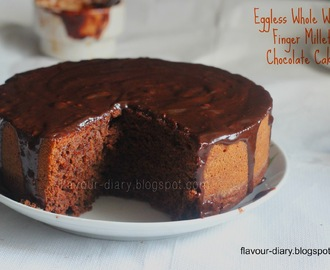 Eggless Whole Wheat Finger Millet Chocolate Cake with Nutella Glaze (Healthy Chocolate Cake)