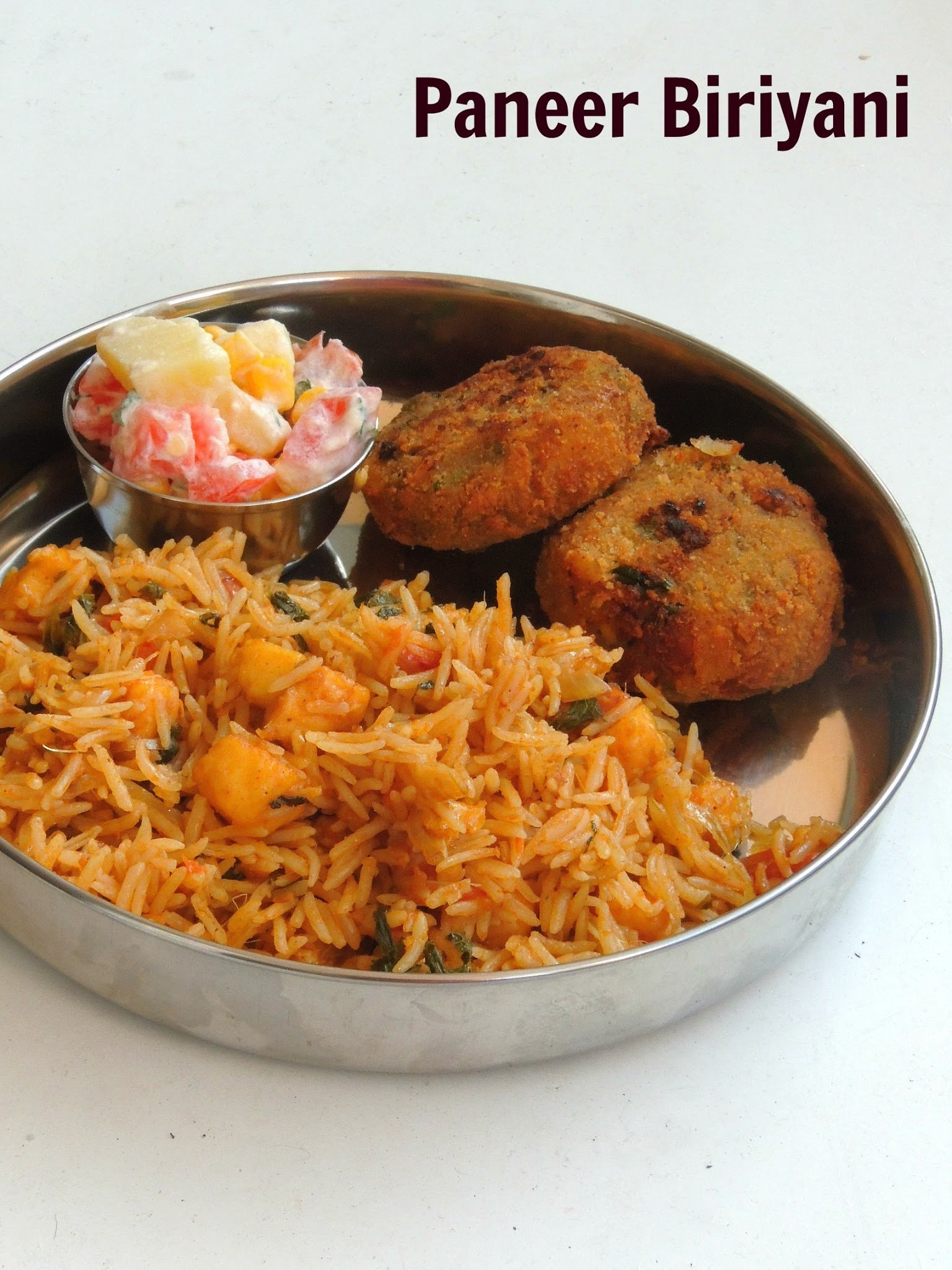 Paneer Biriyani / Paneer Biryani/Indian Cheese Briyani
