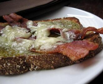 Open Faced Bacon and Cheese Sandwich With Jalapeno Jelly