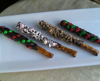 Candy-Covered Chocolate-Dipped Pretzel Rods