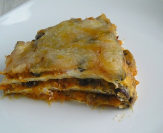 Sweet Potato and Black Bean Enchilada Stack
