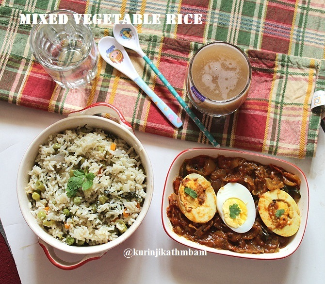Mixed Vegetable Rice | Easy Lunch Box Recipes
