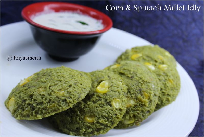 Corn & Spinach Millet Idly / Diet Friendly Recipe - 94 / #100dietrecipes