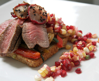 Steak & Squash Sandwich w/ Pomegranate Corn Relish & SpicySweet Radish Chips