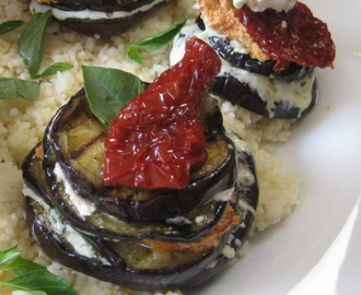 Eggplant and Tri-Color Goat Cheese Napoleons on Couscous with Honey-Balsamic Vinaigrette