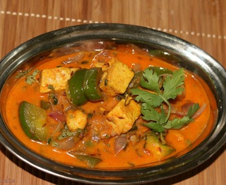 Dhaniawale Paneer aur Shimla Mirch / Indian Cottage Cheese and Bell Pepper with Fresh Coriander
