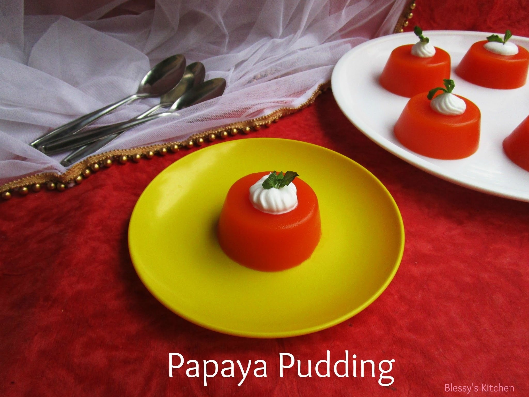 Papaya Pudding/ Agar Agar Papaya Pudding/ China Grass Papaya Pudding/ Kanten Papaya Pudding/ Diabetic Friendly Papaya Pudding