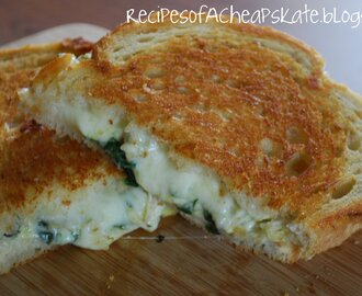 Spinach Artichoke Grilled Cheese--Crazy Cooking Challenge