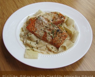 Scicilian Seasoned Salmon with Cheddar Mornay Sauce