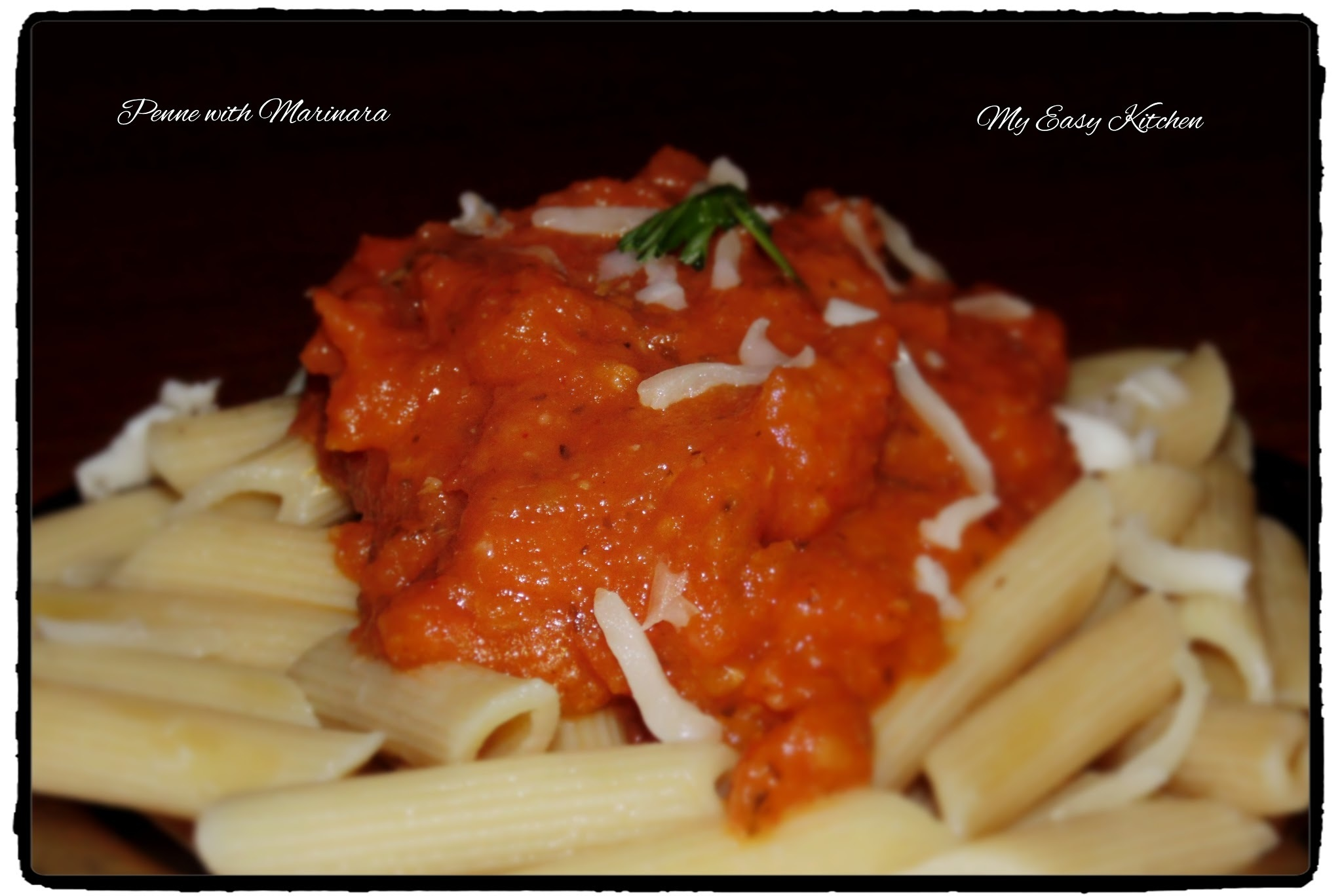 Pasta in tomato sauce or Pasta marinara / Penne with marinara sauce