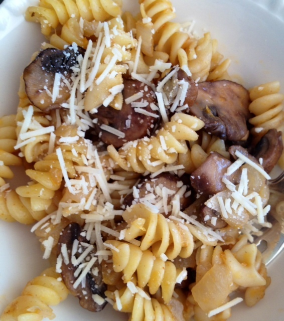 Fusili with Caramelized Onions and Mushrooms