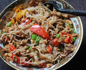 Chicken & Rice Noodles Stir Fry Recipe