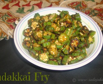 Vendakkai Poriyal Recipe / Okra Fry Recipe / Ladies Finger Fry / Bhindi Fry Recipe - A Quick Bhindi Fry