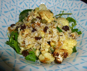 Roasted Cauliflower and Bulgur Wheat Salad with a Rosemary, Honey and Lemon Dressing Recipe