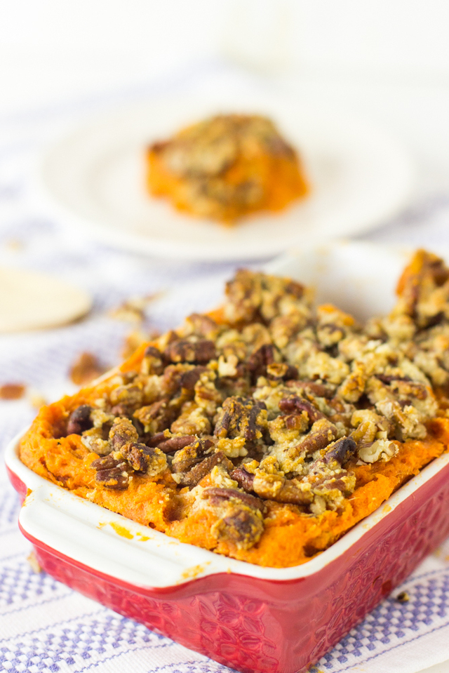 Vegan Sweet Potato Casserole with Maple Pecan Topping