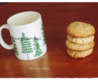 Wheat Almond Cookies / Atta Badham Cookies - Eggless Cookies