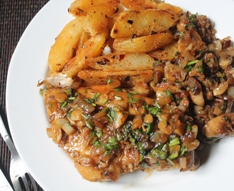 Pan Fried Lemon Garlic Chicken with Sauteed Mushrooms & Oregano Potatoes - Continental Food 4