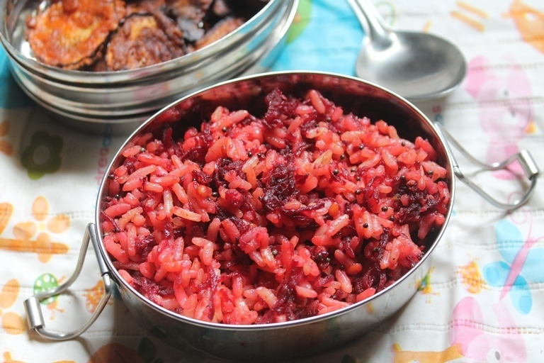 Beetroot Rice Recipe - Beet Rice with Brinjal Fry - Kids Lunch Box Ideas 2