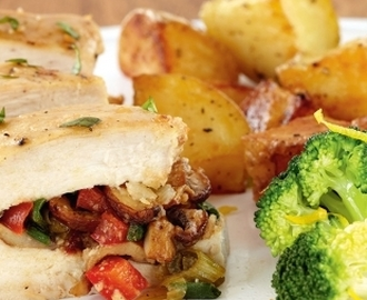 Stuffed Chicken with Roasted Potatoes and Lemon Broccoli