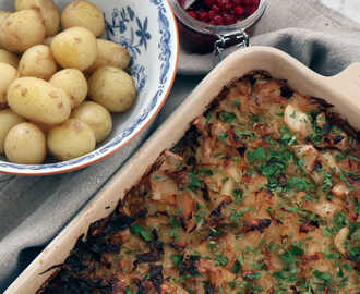 Vegetarisk kålpudding med potatis