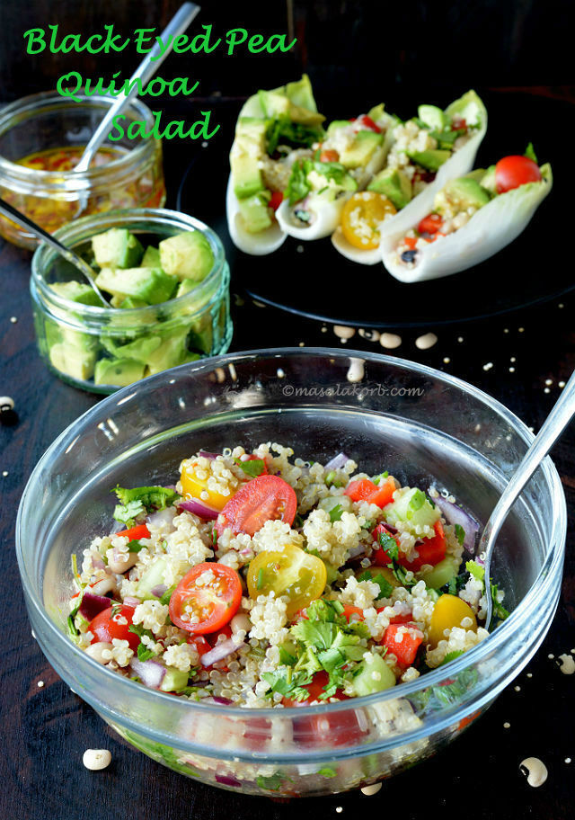 Black Eyed Pea Quinoa Salad in Endive Boats | Quinoa Salad Recipe With Zesty Vinaigrette